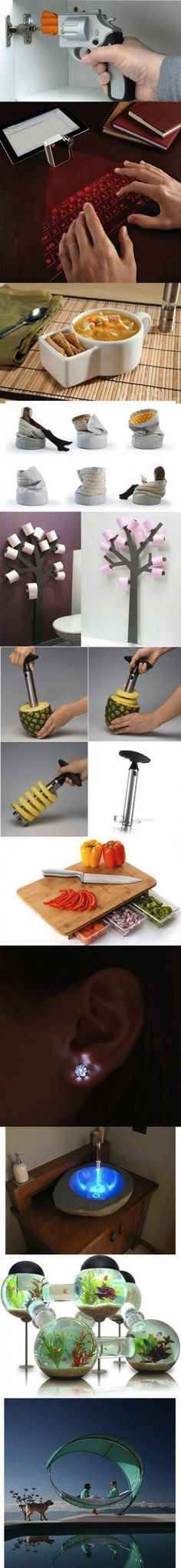 Super duper cool inventions. I WANT the drill and fish tank!