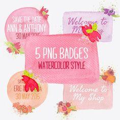 Watercolor badges by Webvilla on Creative Market