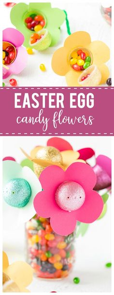 Easter Egg Candy Flowers: a pretty and yummy decor idea that is perfectly festive for your Easter dinner table. #Easter #Flowers #Crafts #diy #kidscrafts #family #holiday #springcrafts