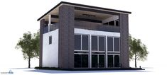 Modern house plan with rooftop terrace, three bedrooms, high ceilings.