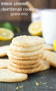 These easy Lemon Almond Shortbread Cookies Recipe are slice and bake and a perfect Spring dessert! They are gluten free and low carb with only 3 grams of carbohydrates per serving! Biscuit Sans Gluten, Cookies Sans Gluten, Dessert Sans Gluten, Paleo Cookies, Lemon Cookies, Gluten Free Desserts, Almond Shortbread Cookie Recipe, Almond Flour Cookies, Almond Flour Recipes