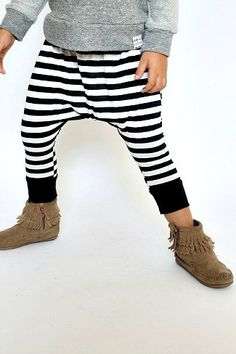 Black And White Striped Harem Pants