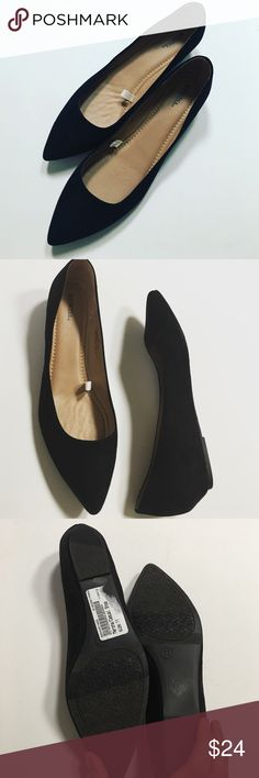 Black Classic Flats Classic flats that will go with many items in your wardrobe. Black suede like material but all manmade. These shoes have a flight heel of close to an inch. Merona Shoes Flats & Loafers