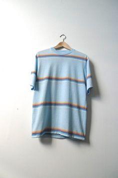 soft 70s 80s vintage THICK stripe blue CREW neck t tee shirt