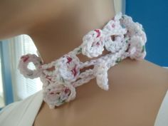"""Available at Captola at Etsy.com Crochet lariat necklace of """"confetti"""" cotton multiple circles can be worn loose."""