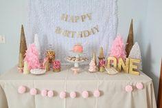 Pink and gold winter wonderland 1st Birthday!