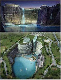 Atkin's Architecture Group won first prize for an international design competition with this stunning entry. Set in a spectacular water filled quarry in Songjiang, China, the 400 bed resort hotel is uniquely constructed within the natural elements of the quarry. Underwater public areas and guest rooms add to the uniqueness, but the resort also boasts cafes, restaurants and sporting facilities.