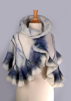This handmade one of a kind scarf is created using softest 100% merino wool, natural silk chiffon and mulberry silk fibers.
