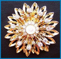 "Vintage Rhinestone Snowflake 3 Tiered Gold Brooch or Pin Fancy High End 2 1/4"" EX CIJ Sale. $24.50, via Etsy."