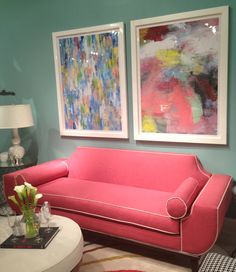 "Younger Furniture 220 Elm #hpmkt Loving the sassy little ""Audrey"" sofa in pink ""Hollywood Glam vs. Mid-Century Mod sofa! Comfy too!"