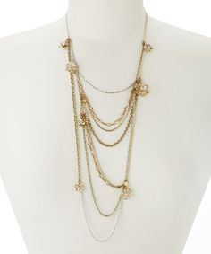 Gold Asymmetrical Necklace by John Wind Maximal Art #zulily #zulilyfinds