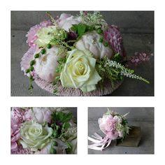 Bouquet satin & dentelle  Dalhia Pivoine Astible Rose White Naomi