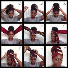 Tutorials , different ways to tie a scarf over her hair.