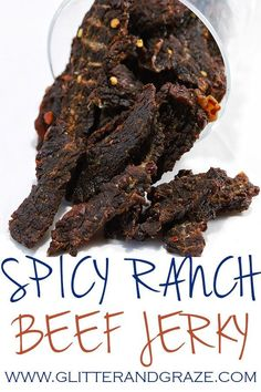 spicy ranch beef jerky has the right amount of tang with a little spice perfect for your next snack.The only thing I can't promise is you won'teat the whole thing in one sitting. Deer Jerky Recipe, Venison Jerky Recipe, Smoked Beef Jerky, Best Beef Jerky, Homemade Beef Jerky, Venison Recipes, Jerky Seasoning Recipe, Traeger Jerky Recipe, Smoker Cooking