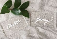 Calligraphy on acrylic place cards/escort cards