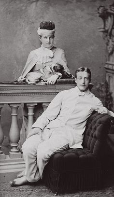 """Grand Duke Konstantin Konstantinovich with his sister Queen Olga of Greece """