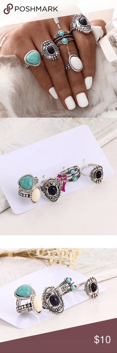 5 Pcs Antique Silver Bohemian Midi Ring Set 5 Pcs Antique Silver Bohemian Midi Ring Set  ▪️Material(s): zinc alloy, turquoise  ▪️Size: See image for individual ring sizes ▪️Condition: New Jewelry Rings