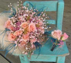 Peach rose bouquet and boutonnier with feather accents