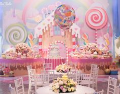 No photo description available. Candy Land Christmas, Candy Christmas Decorations, Birthday Party Decorations, Circus Birthday, 1st Birthday Parties, Candy Themed Party, Rainbow Balloons, Valentines Day Party, Baby Shower