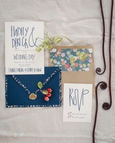 Navy and floral wedding invitations: http://www.stylemepretty.com/colorado-weddings/2015/01/15/rustic-farm-to-table-wedding-inspiration/ | Photography: Cat Mayer - http://www.catmayerstudio.com/