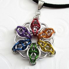 Rainbow chainmaille Celtic star pendant by TattooedAndChained, $15.00