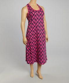 Look what I found on #zulily! Hot Pink & Navy Zigzag Sleeveless Dress - Plus #zulilyfinds
