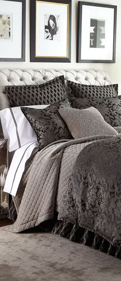 Luxury Bedding from the Top Designer Bedding Brands Apartment Bedroom Decor, Bedroom Bed, Dream Bedroom, Master Bedrooms, Black Bedrooms, Bedroom Inspo, Bedroom Ideas, Luxurious Bedrooms, Luxury Bedrooms