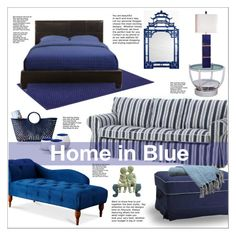 """""""Blue Home Sets"""" by ceci-alva ❤ liked on Polyvore featuring interior, interiors, interior design, home, home decor, interior decorating, Mark & Graham, son & dotter, Colonial Home Textiles and Mirror Image Home"""