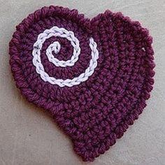 crochet pattern - heart motif appliqué (part of patten for teen throw)