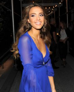 Jessica Alba in DVF, love the blue dress and perfect blue eye makeup, also liking the hair.
