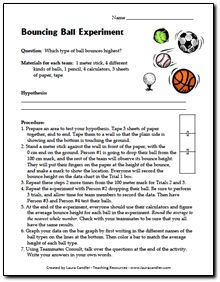Free Bouncing Ball Experiment and other science resources from Laura Candler's online science file cabinet