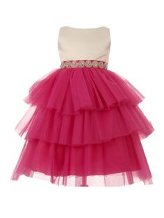 c639b034944 Big Girls Ivory Fuchsia Scalloped Stone Trim Tiered Junior Bridesmaid Dress  8-12