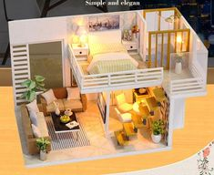 O-with Cover Quaanti DIY Wooden Miniature Dollhouse Toy Set Plus Dust Proof 3D Puzzles Model Kit with Furniture and Accessories Creative Room Idea Educational Toy Birthday Gifts for Boys Girls Kids