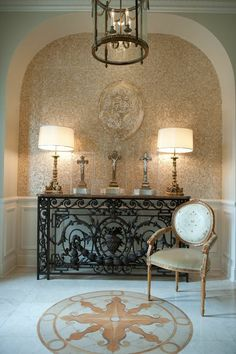 Sacred heart wrought iron console table // Nancy Price Interior Design