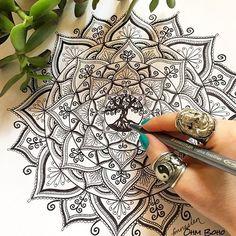 Tree Of Life Mandala whilst wearing our Ganesh Ring & Ying Yang Ring ॐ www.ohmboho.com ॐ