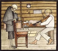 Hugo Simberg, Death Listens, 1897, Watercolour