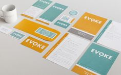 Café Evoke | Identity, Packaging, Print, Digital, Interiors | Evoke had been working in coffee catering for years when they made the decision to open up a coffee shop in the heart of Edmond, Oklahoma. Jason and the crew wanted a tip of the hat to the identity that made their business successful, but go the next level to create a new, bold identity for the shop.