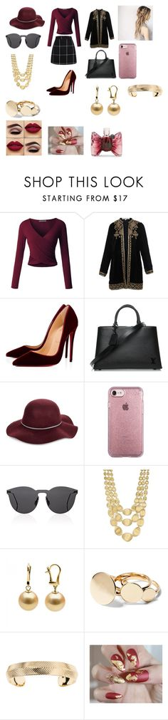 """Untitled #660"" by gracemunro ❤ liked on Polyvore featuring LE3NO, Bella Tu, Christian Louboutin, Louis Vuitton, San Diego Hat Co., Speck, Illesteva, Marco Bicego, Aurélie Bidermann and Viktor & Rolf"
