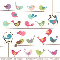 Birds Clipart Clip Art - Commercial and Personal Use. $6.00, via Etsy.