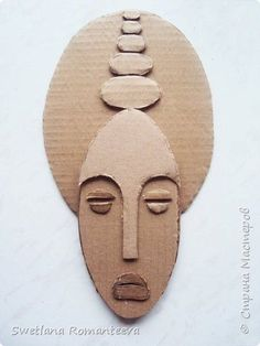 Gesichter - papier - Gesichter - papier - Gesichter - papier - La fabrication avec feuille couvre seul étendu éventail à l'ég Cardboard Mask, Cardboard Sculpture, Cardboard Crafts, Clay Crafts, Sculpture Art, Arts And Crafts, Paper Crafts, Afrique Art, Art Africain