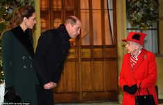 Prince William leans towards his grandmother as they chat outside Windsor Castle on Tuesda...