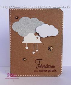 """Carte pour une naissance """"Félicitations aux heureux parents"""", tons neutres. Copyright Pauline h. Créations"""
