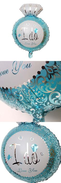 HuntGold 1Pc I DO Diamond Ring Type Foil Balloons Party Wedding Ornaments(Blue)