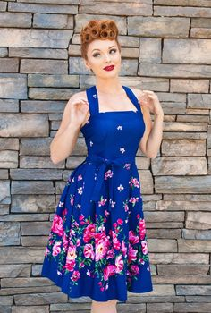 1950s blue floral swing dress - Elizabeth Dress - Bethany Floral  AT vintagedancer.com