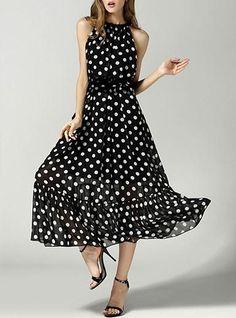 Plus Size Midi Dress - Polka Dot / Sleeveless
