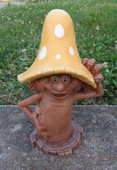 Ceramic Mushroom outdoor decoration for you yard or garden-Cute. $18.00, via Etsy.