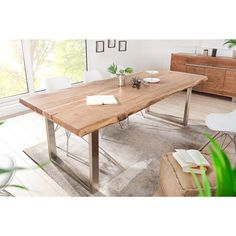 220 cm solid acacia dining table with stainless steel base – Table Types Air Lounge, Dining Room, Dining Table, Wooden Tables, Acacia, Coffee Shop, Modern Design, Interior, House
