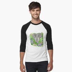 PAINTED ELEPHANT 349. by sana90 | Redbubble Baseball, Athletic Looks, Skull Shirts, Men's Shirts, My T Shirt, Chiffon Tops, Classic T Shirts, Shirt Designs, Hoodies