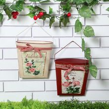 US $16.34 Red beige Iron Flower Pot Wall Hanging Basket Pastoral Container Creative Gifts Garden Supplies. Aliexpress product