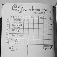 [Visual Description: A hand drawn chart within a lined journal that tracks magickal housekeeping responsibilities.]
